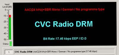 Test transmission on 7145 kHz from CVC Radio DRM on 12th August 2005  transmitting from Juelich, Germany