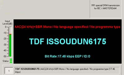 RFI DRM Transmission for IBC / Amsterdam on 6175 kHz