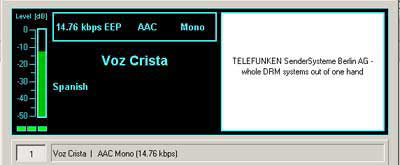 Transmission from Voz Crista 17645 kHz, Chile